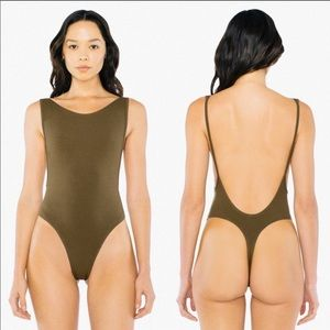 American Apparel Backless Bodysuit Olive Sz XS